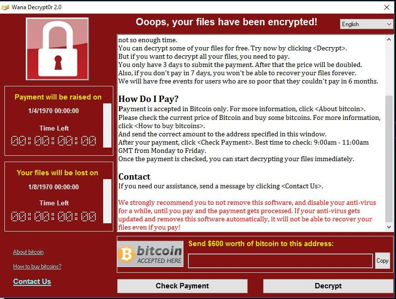 WannaCry Pop-up